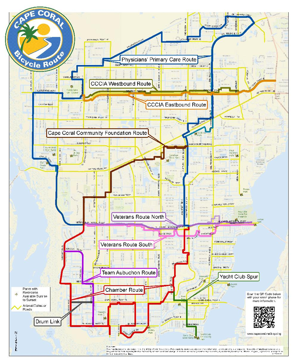 Cape Coral Bicycling Interactive Maps - Cape coral map