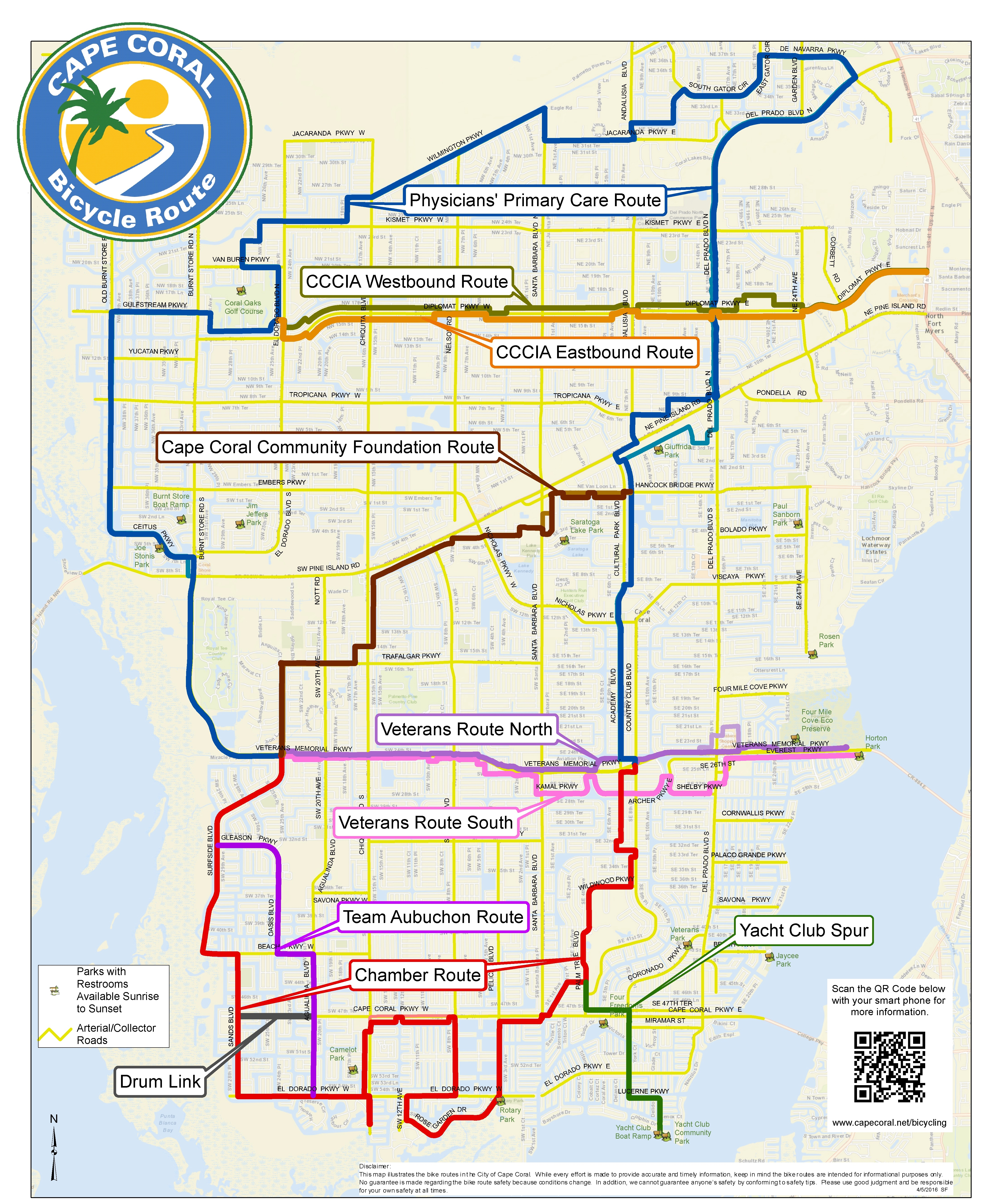Florida Rails To Trails Map.Cape Coral Bicycling Interactive Maps